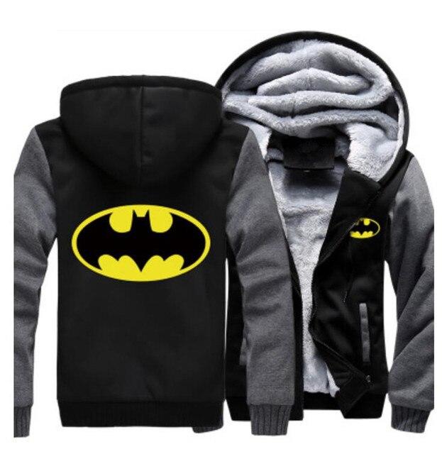 USA size Men Women Batman Zipper Jacket Sweatshirts Thicken Hoodie Coat Clothing Casual