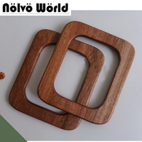 2 Pairs=4 Pieces,Square Shape Wood bag handle,15*13cm Cherry Tree,Oak Tree Solid Wood handles for bags,Wooden Purse Bag Handles