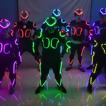 RGB Colorful Led Ballroom Costume With Led Mask Luminous Robot Suit Stage Performance Dance Wear 3 Sets Free Shipping