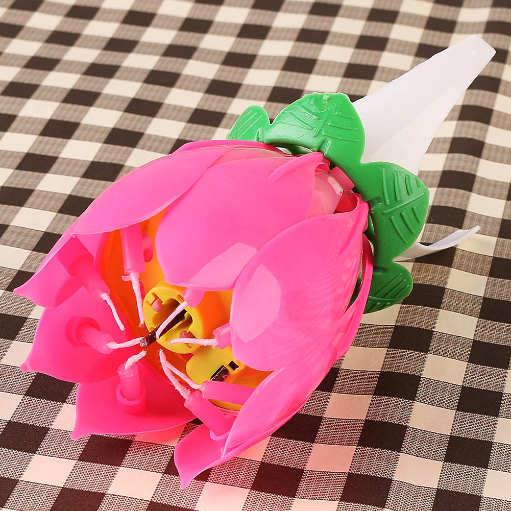 2015 5pcs Beautiful Music Blossom Love Cate Lotus Flower Candle
