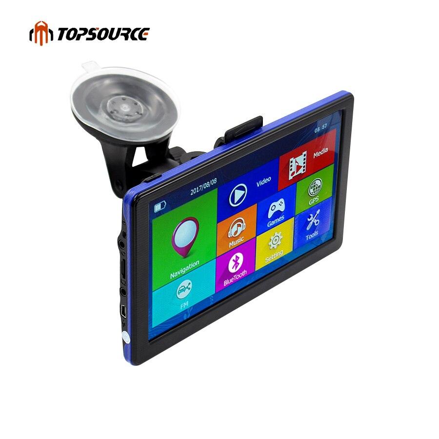 Topsource 7 дюймов автомобиля GPS емкостный экран навигации fm построен в 8 ГБ Географические карты для Европа/США + Канада грузовик GPS навигатор c6