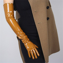 60cm Patent Leather Long Gloves Extra Over Elbow PU Emulation Bright Light Brown Caramel Toffee WPU51-60