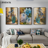 Zozack flower chinese cross stitch kits embroidery needlework sets Oil painting vase patterns printed counted cross stitching