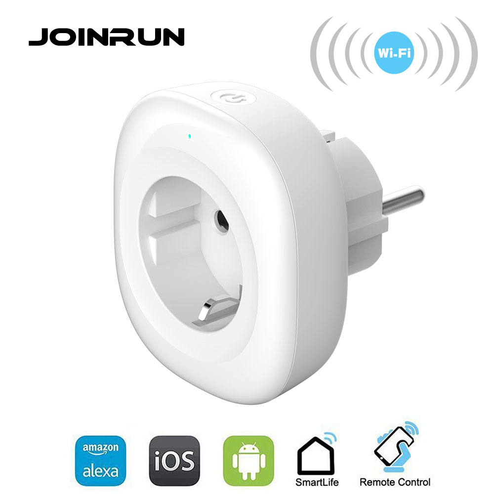 JOINRUN Wifi Smart Socket EU Power Plug Smart Plug Mobile APP Remote Control USB Output Works with Amazon Alexa Google Home smart eu plug wifi mini alexa socket 16a app control power timer switch voice control works with alexa google home and ifttt