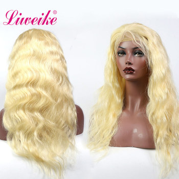 Liweike Brazilian Body Wave 613 Blonde Lace Front Human Hair Wigs 150% Density Lace Frontal Wig Remy Hair Pre Plucked Hairline