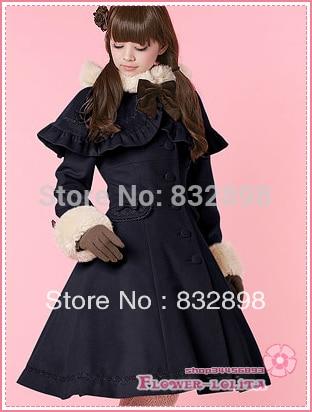 Hiver Sweet Filles D'hiver À Blue Chaude Manteaux Vente Bleu En Marque Laine Dark Long Lolita Manteau Foncé Capuche xHZnPv0UWq