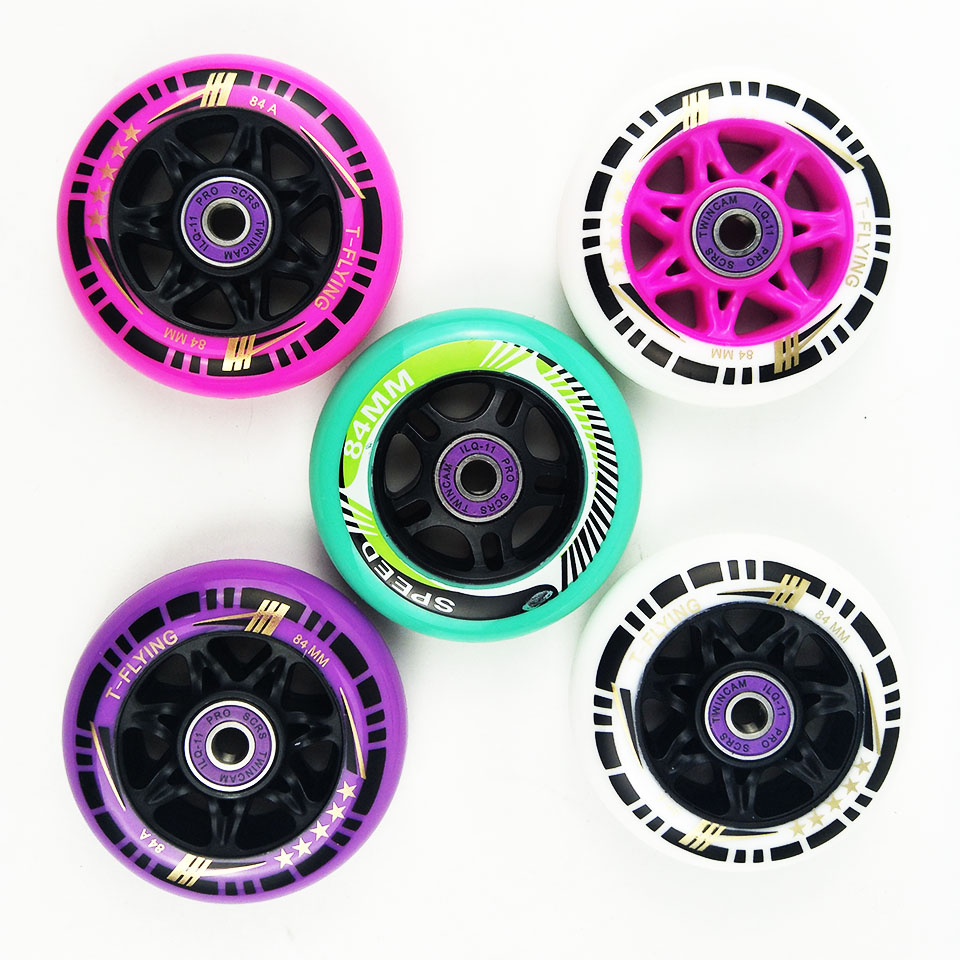 84mm Wheel With Bearings Spacers 83A 84A Inline Wheels Professional Speed Free Skating Roller Skating For