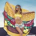 Summer 2017 Beach Wear Wraps Hamburger Pizza Print Beach Mat Cover-Ups Holiday Casual Women Clothing A61201