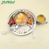 JIANDA Stainless Steel Divided Dinner Plate Dish Round Students Lunch Tray Plate Tableware Canteen Supplies