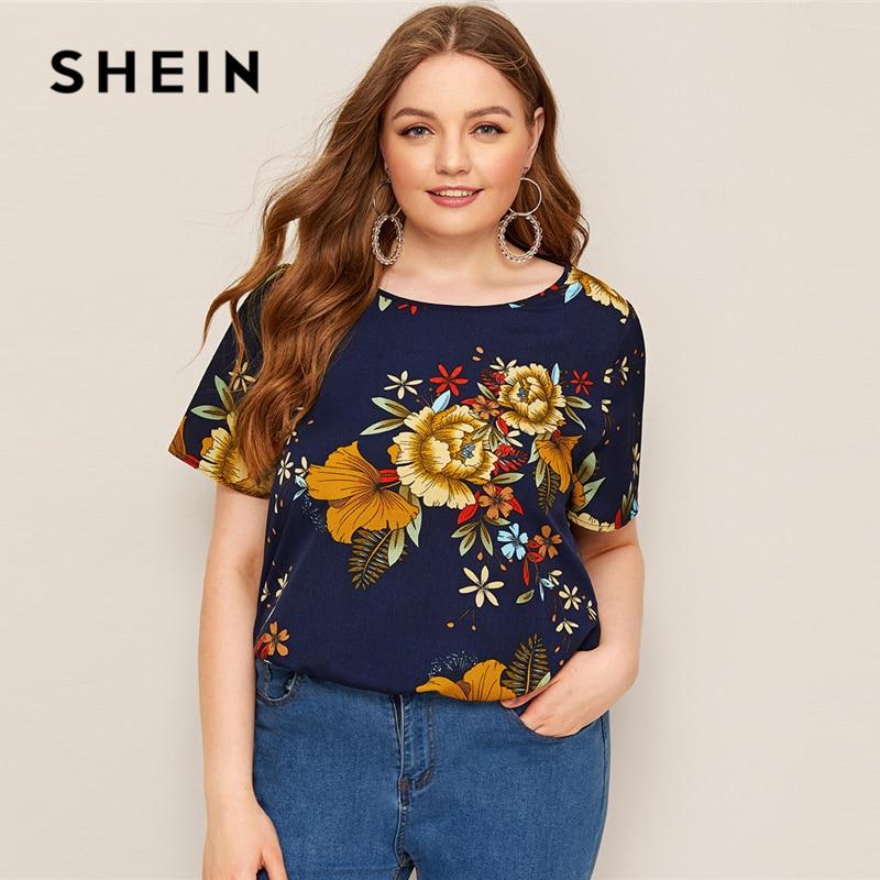 SHEIN Plus Size Navy Botanical Flower Print Blouse 2019 Women Summer Floral Round Neck Short Sleeve Regular Plus Blouses Shirt