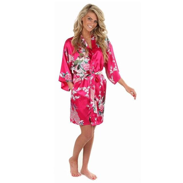 Ярко розовый женский печатных цветочные платья кимоно платье в китайском стиле шелковый атлас одеяние марка ночная рубашка цветок sml XL XXL XXXL