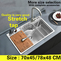 Free Shipping Hot Sell Standard Kitchen Sink Stretch Tap Food Grade 304 Stainless Steel 0 8