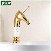 Wholesale And Retail Basin Faucet Golden Plate Porcelain Golden Bronze Deer Cold Hot Valve Washbasin Sink