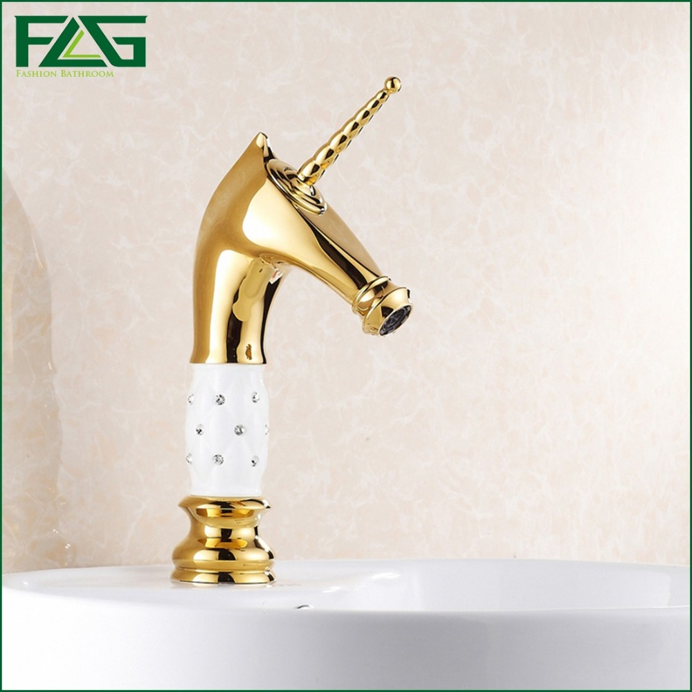 FLG Wholesale And Retail Basin Faucet Golden Plate Porcelain Deer Cold and Hot Water Washbasin Sink  Mixer Tap 100073