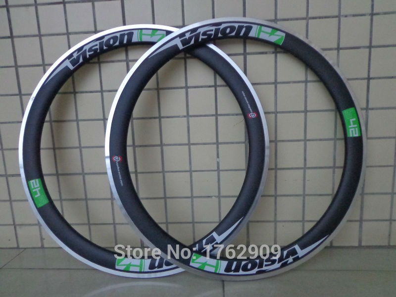 2Pcs New Green 700C 50mm Clincher Rims Road Bicycle Matt 3K Carbon Fibre Bike Wheelsets Rim