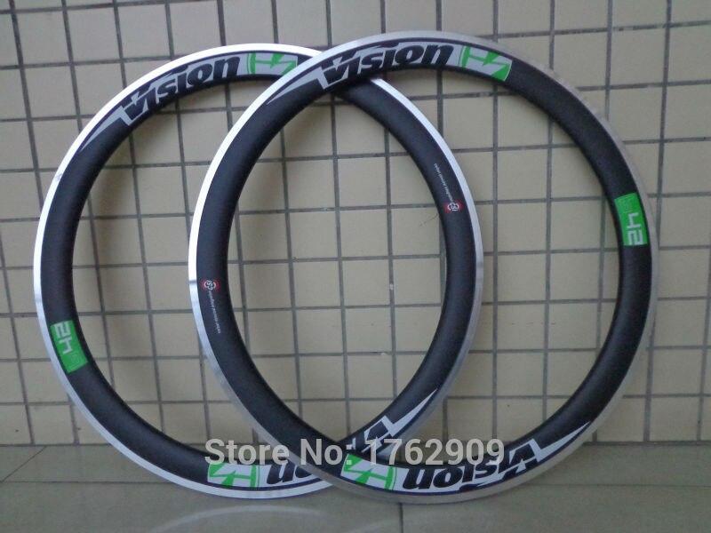 2Pcs New Green 700C 50mm Clincher Rims Road Bicycle Matt 3K Carbon Fibre Bike Wheelsets Rim