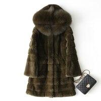 Large Fox Fur Collar Hooded Fashion Natural Rex Rabbit Fur Coats Outerwear Women Wave Cut Warm Winter Real Leather Fur Jackets