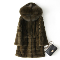 Large Fox Fur Collar Hooded Fashion Natural Rex Rabbit Fur Coats Outerwear Women Wave Cut Warm Winter Real Leather Fur Jackets