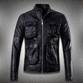 Высочайшее качество 2016 новый стиль панк Овчины кожаная куртка мужчины стенд воротник мужской 3d карманы дизайн мотоцикла кожаная одежда 458