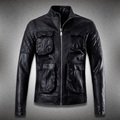 Top quality 2016 new punk style Sheepskin leather jacket men stand collar male 3d pockets design motorcycle leather clothing 458