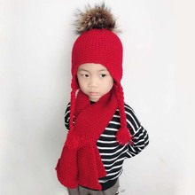 2018 Warm Knitted Winter Hat and Scarf Set For Children Pom Pom Beanie Set Real Raccoon Fur Pompon baby hat scarf set