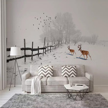 Custom wallpaper Modern minimalist elk flying bird snow background wall paper mural advanced waterproof material