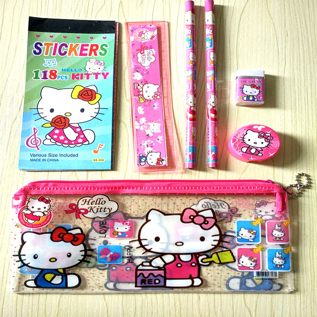 0ab37f662f Kawaii Hello kitty stationery set for kids Cute pencil case for girls ruler  eraser Children gift Office School Supplies