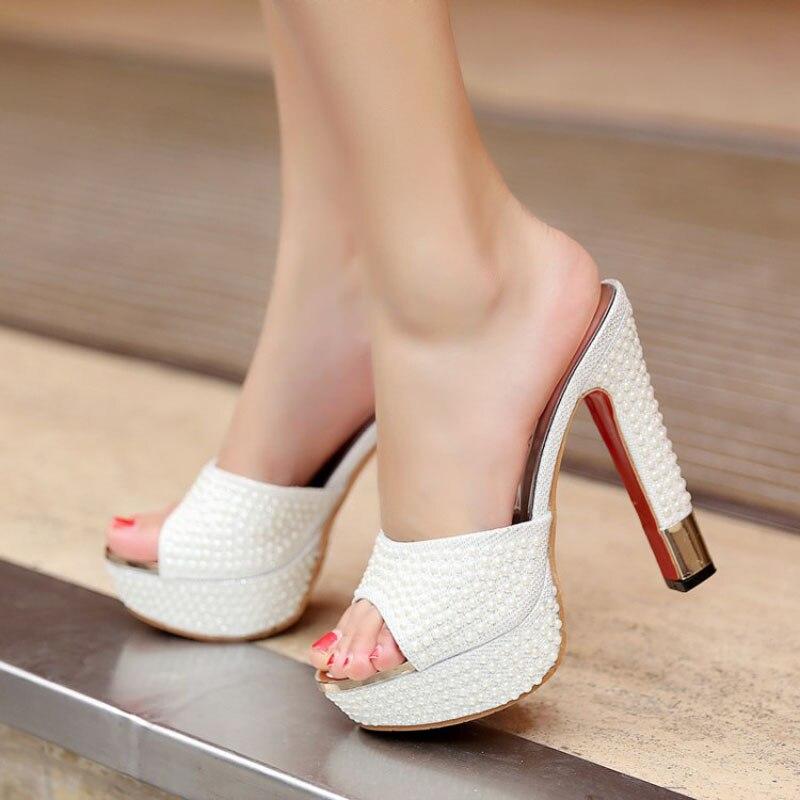 Nuevo 2018 Plataforma de lujo Tacones altos Mujer Zapatillas Cadena - Zapatos de mujer - foto 5