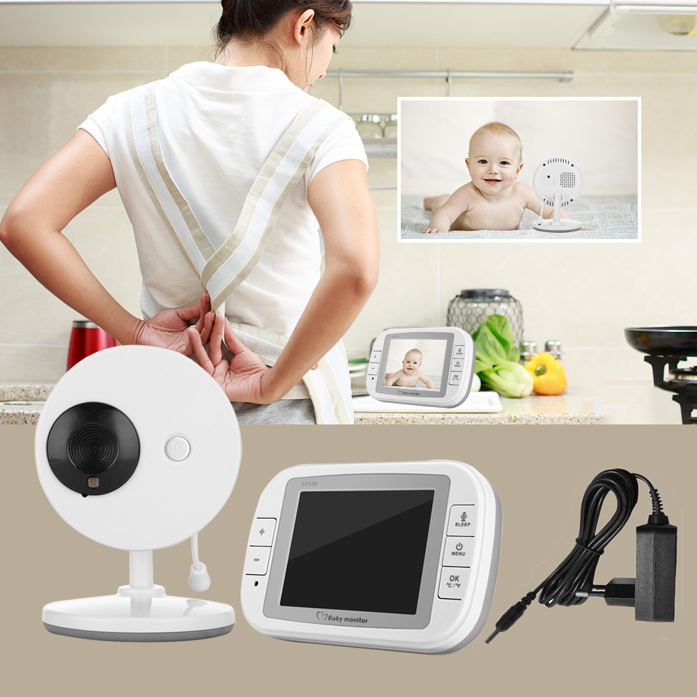 LESHP Baby Monitor with 3.5 Inch Wireless TFT LCD Video Night Vision 2-way Audio Infant Baby Camera Digital Video Babysitter 3 5 inch tft led audio video security tester cctv camera monitor