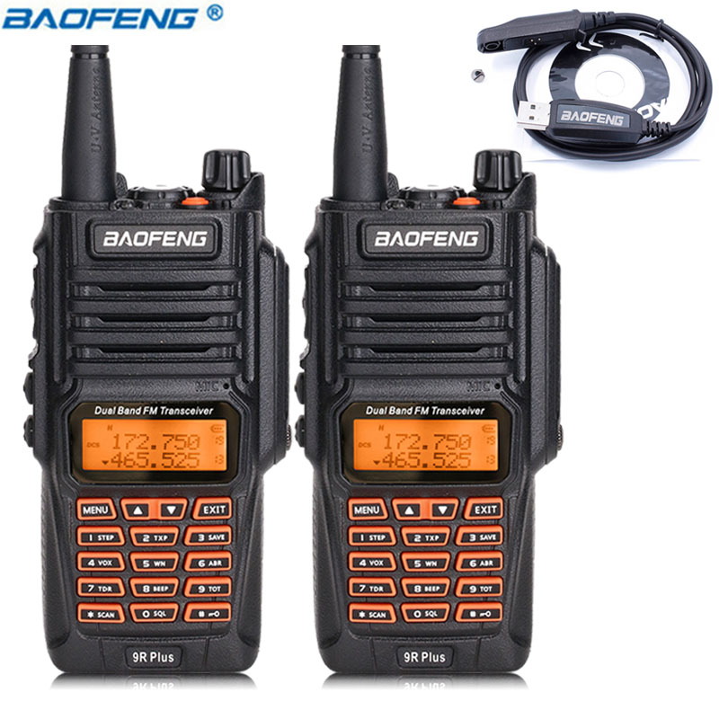 2Pcs Baofeng UV 9R Plus 8W High Power Waterproof Dustproof Portable Walkie Talkie Dual Band 10km