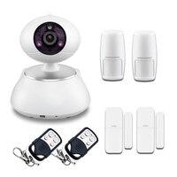 Casa de Assaltante sem fio Alarme Casa Sistema De Segurança De Vídeo WIFI Câmera do IP do IR Ip cam com APP contyrol