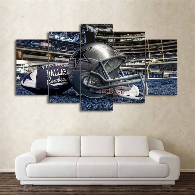 Hd Printed 5 Piece Canvas Art American Dallas Cowboys Football Helmet Pictures Picture Modern Wall Home Decor Painting