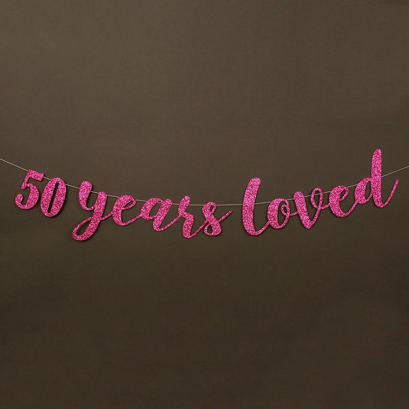 50 жыл өте жақсы көретін Glitter Banner 50th - Мерекелік және кешкі заттар - фото 3
