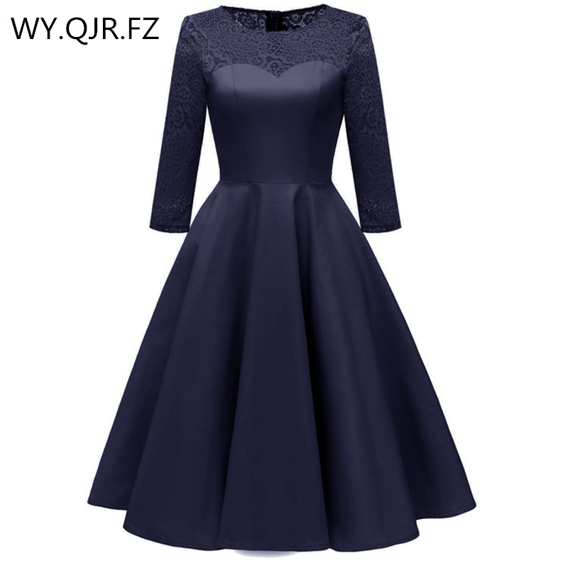 CD1653#satin-like cotton fabric + Lace dark blue short   Bridesmaid     Dresses   Bride Wedding Toast party   dress   gown prom wholesale