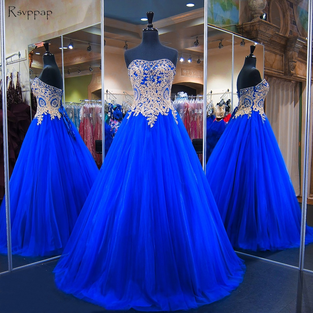 Long   Prom     Dress   2019 Real Image Sweetheart Beaded Gold Applique Floor Length Royal Blue Tulle African   Prom     Dresses