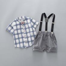 Chłopięce zestawy odzieży letniej maluch moda bawełniana koszula + spodnie na szelkach 2 szt Dresy dla chłopców bebe niemowląt ubrania ślubne tanie tanio BibiCola Bawełna Poliester Wełniane REGULAR Skręcić w dół kołnierz Boys baby Kamizelka cotton Pasuje prawda na wymiar weź swój normalny rozmiar