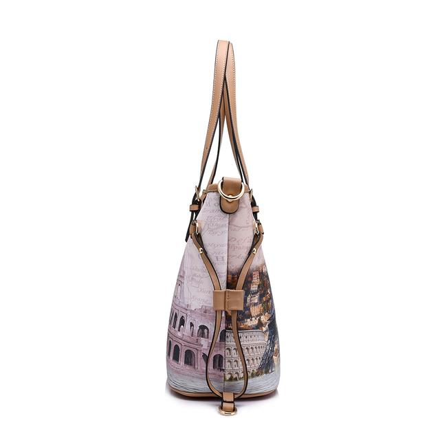 REALER brand 2017 new arrival women handbag 3 sets vintage printed tote bag large shoulder bags women messenger bag