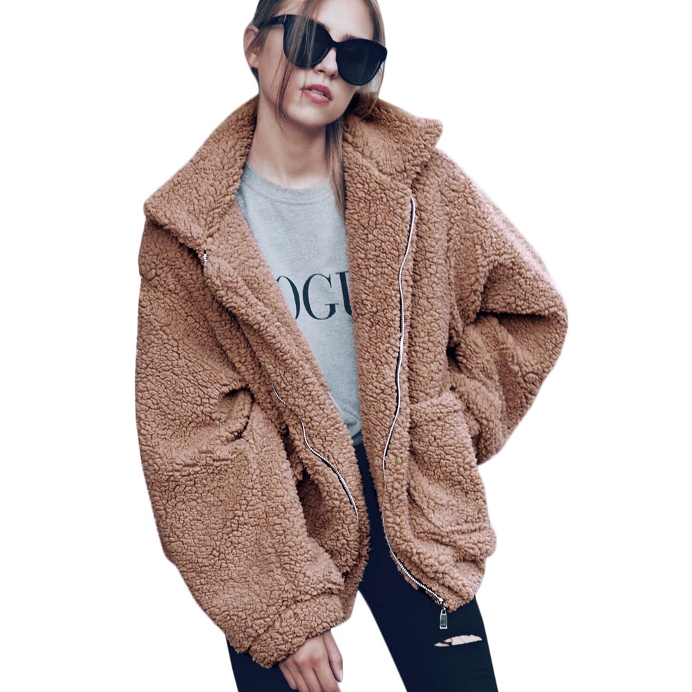 New Winter Leisure Loose Hooded Cardigan Coat Plush Coat Quality Control