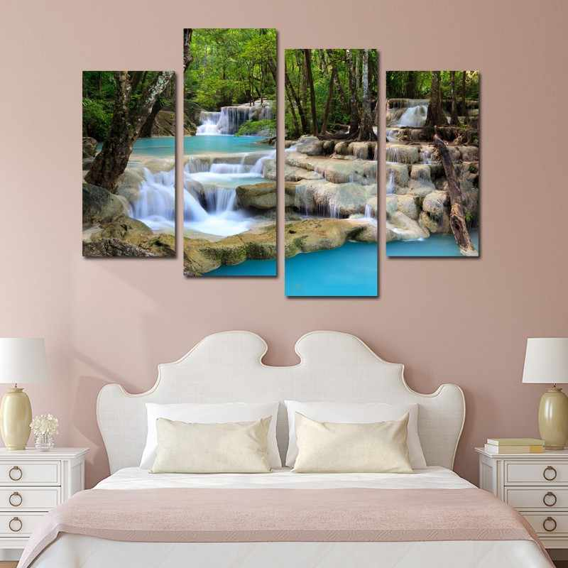 4 Pieces/set beautiful waterfall  Wall Art For Wall Decor Home Decoration Picture Paint on Canvas Prints Painting framed