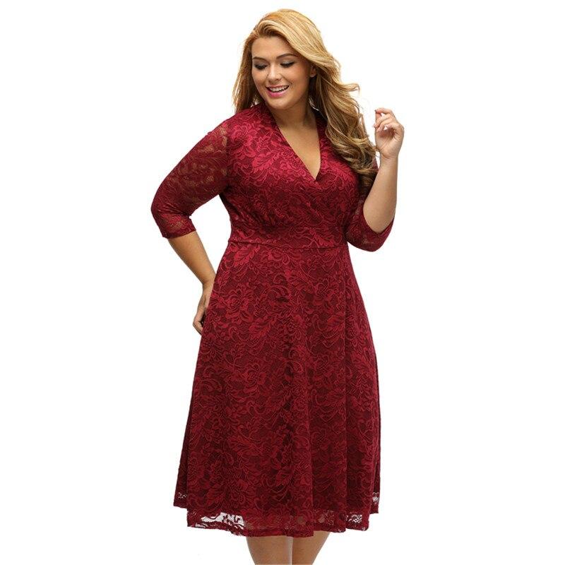 04da09e407cb Cfanny 2017 New Burgundy Surplice Lace Formal Skater Dress Women Elegant  Summer Dress Plus Size XXXL Sexy Evening Party Dresses