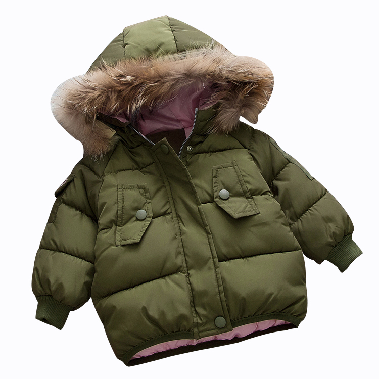 Rlyaeiz Winter Jackets For Girls 2018 Fashion Down Cotton Warm Thick Girls Short Winter Coat High Quality Fur Collar Parka Coats t by alexander wang свитер