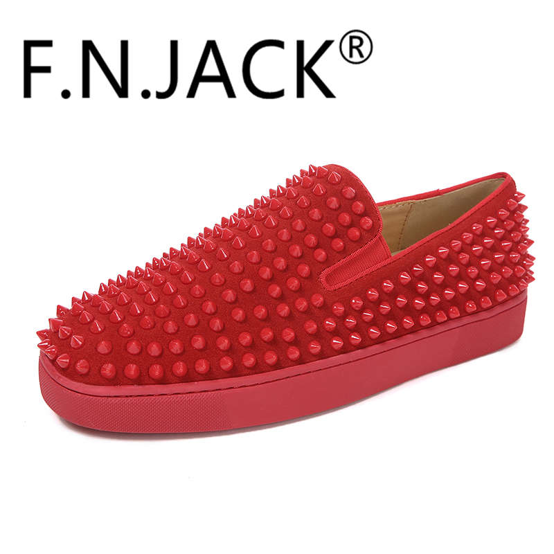FNJACK Roller-Boat Flat Patente Slip-on Sneakers Studded Suede Loafer - Sapatos masculinos