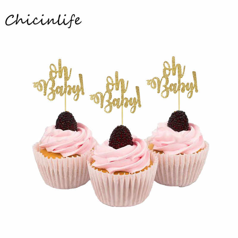 Chicinlife 10Pcs Oh baby Cupcake topper Birthday Party Decoration Wild one Cupcake Topper Baby Shower Supplies