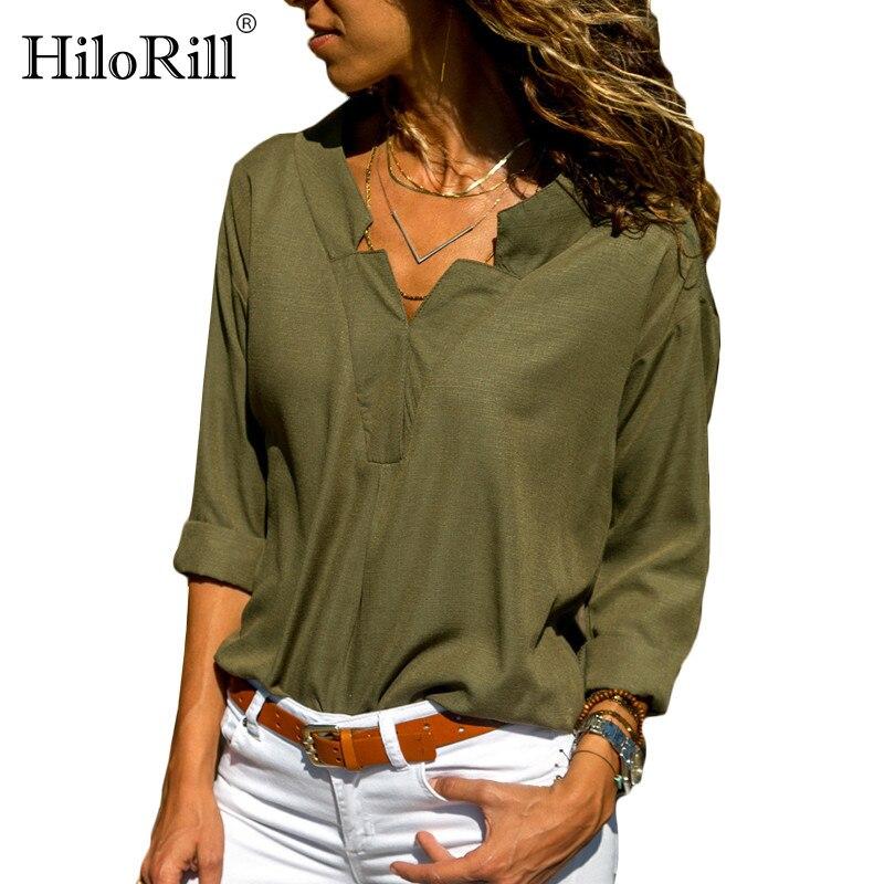 Autumn Women Blouse Shirt Sexy V-Neck Long Sleeve Blouse Top Office Ladies Casual Elegant Shirts Tunic Tops Blusas Plus Size 3XL