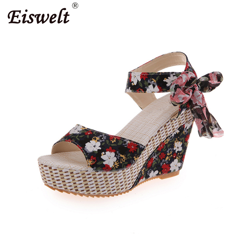 EISWELT Summer Casual Sandals Fish Mouth Lace Bohemia Fashion Flower Ribbons Women Sandals Wedges Platform High Heel Shoes#LQ158 women sandals 2017 summer gauze high heeled shoes lace fish mouth women sandals fashion summer ankle boots s069
