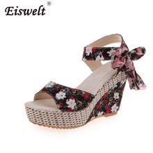 Eiswelt/Летние повседневные сандалии с открытым носком Кружева богемные модные цветочные ленты женские босоножки на танкетке Туфли на платформе с высоким каблуком # LQ158