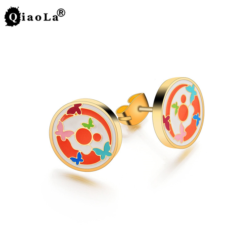 Qiao La Ethereal Cute Butterfly Elements Stud Earrings fashion Women jewelry for Grils 2017 wholesale free shipping L5004