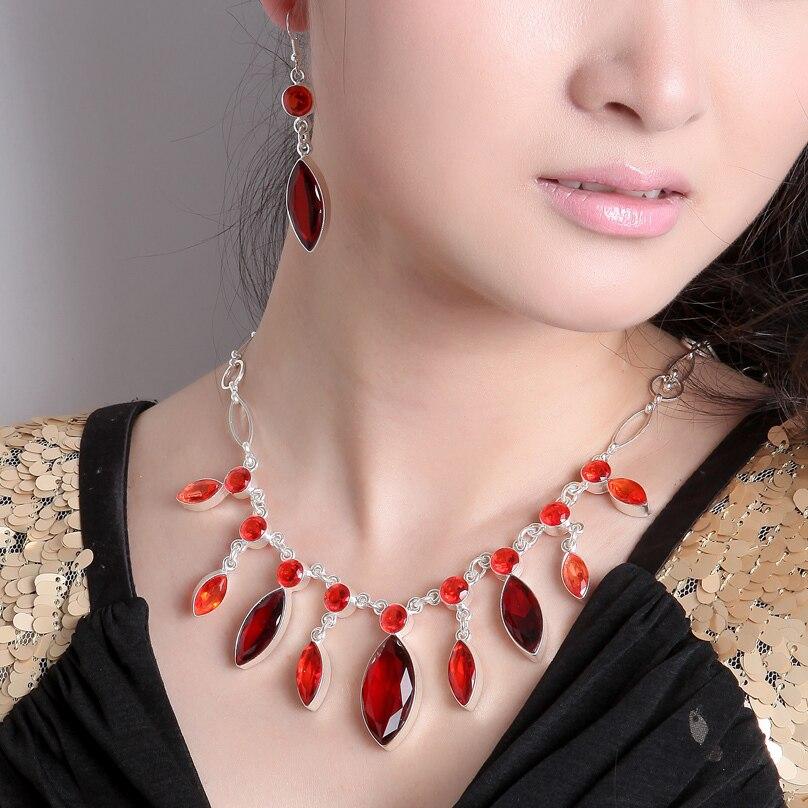 Bohemia Necklace Set 2016 Fashion Tassel Imitation Gemstones Necklace Earring Sets Summer Short Silver Plated necklace Jewelry