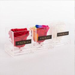 Akrylowe pudełko na kwiaty walentynki prezent jedna ramka róża prezent niespodzianka bez kwiatów zakonserwowane kwiaty mogą niestandardowe
