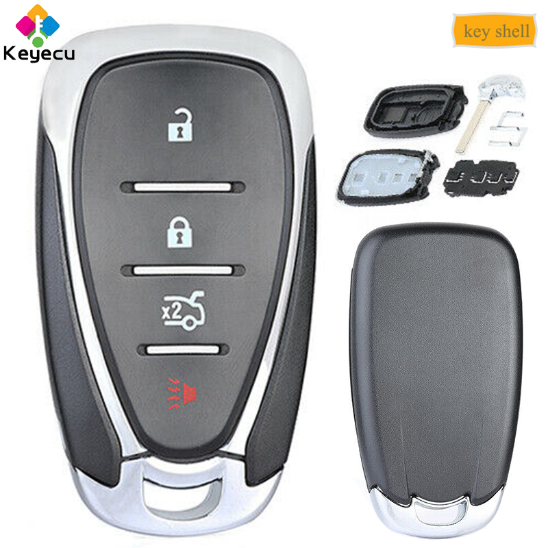 KEYECU Replacement Smart Remote Control Car Key Shell Case With 4 Button -  FOB for Chevrolet Malibu Cruze Spark Cmaro 2016 17 18